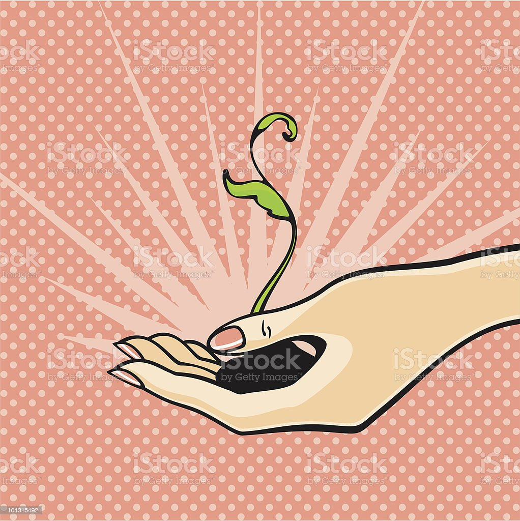 Sprout in a hand royalty-free stock vector art