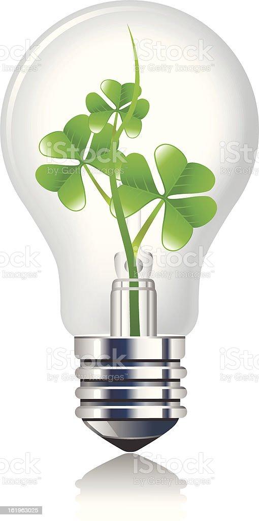 Sprout inside the light bulb vector art illustration
