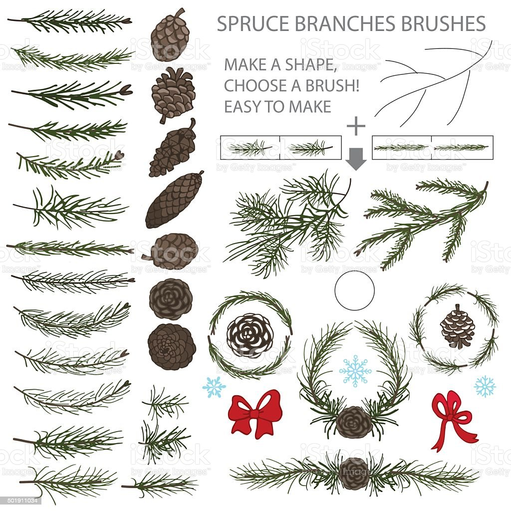 Spruce branches brushes set with Pine cones and bow vector art illustration