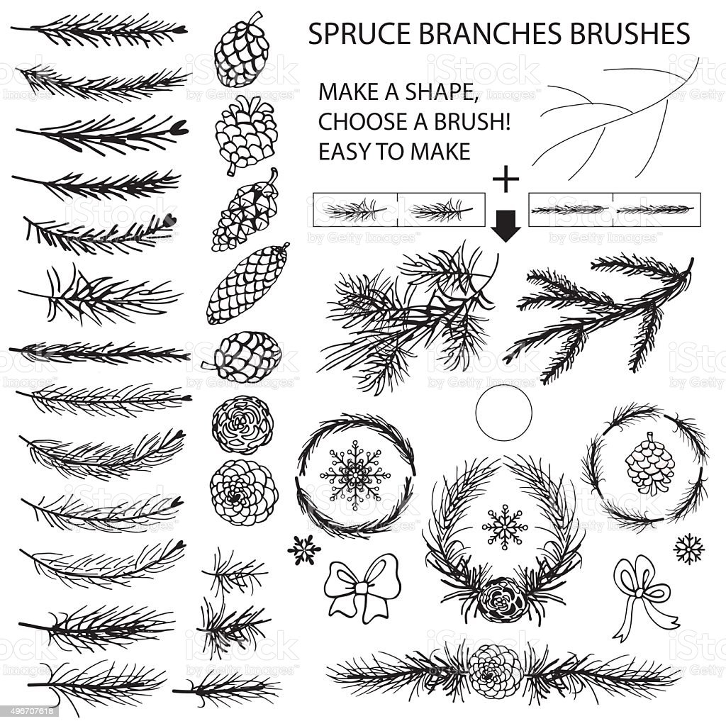 Spruce branches brushes,Pine cones,bow silhouette set vector art illustration