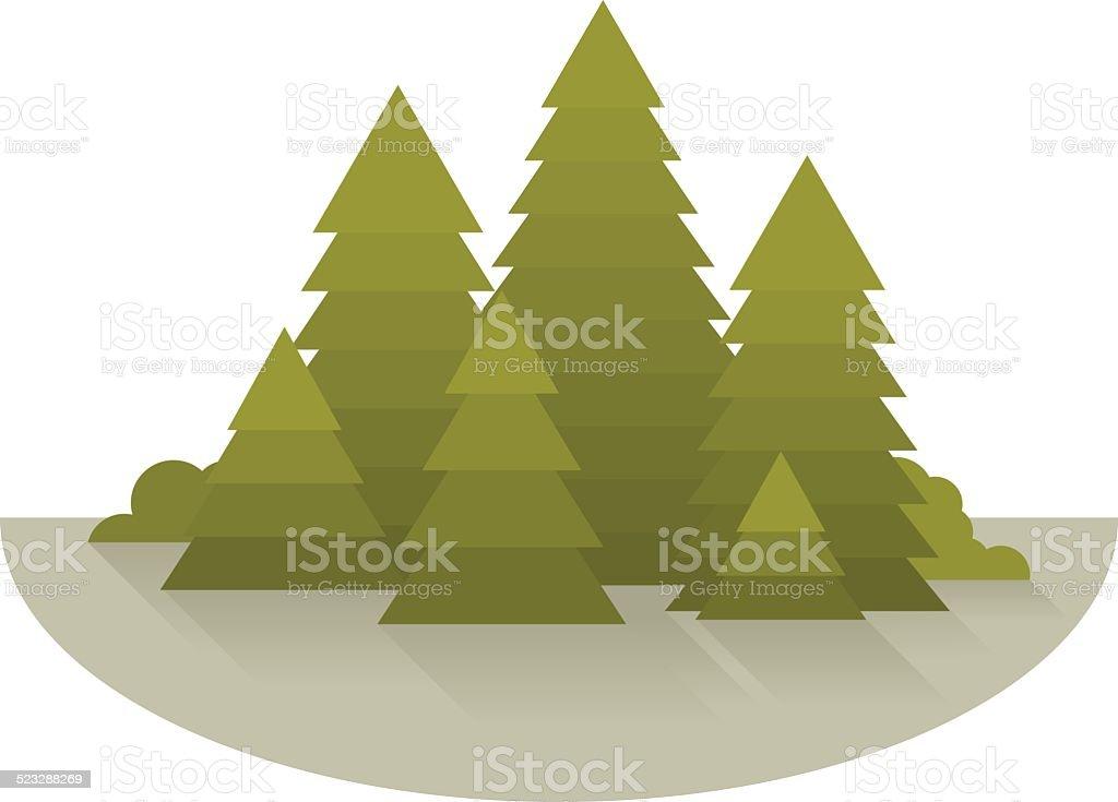 Spruce Forest Glade vector art illustration