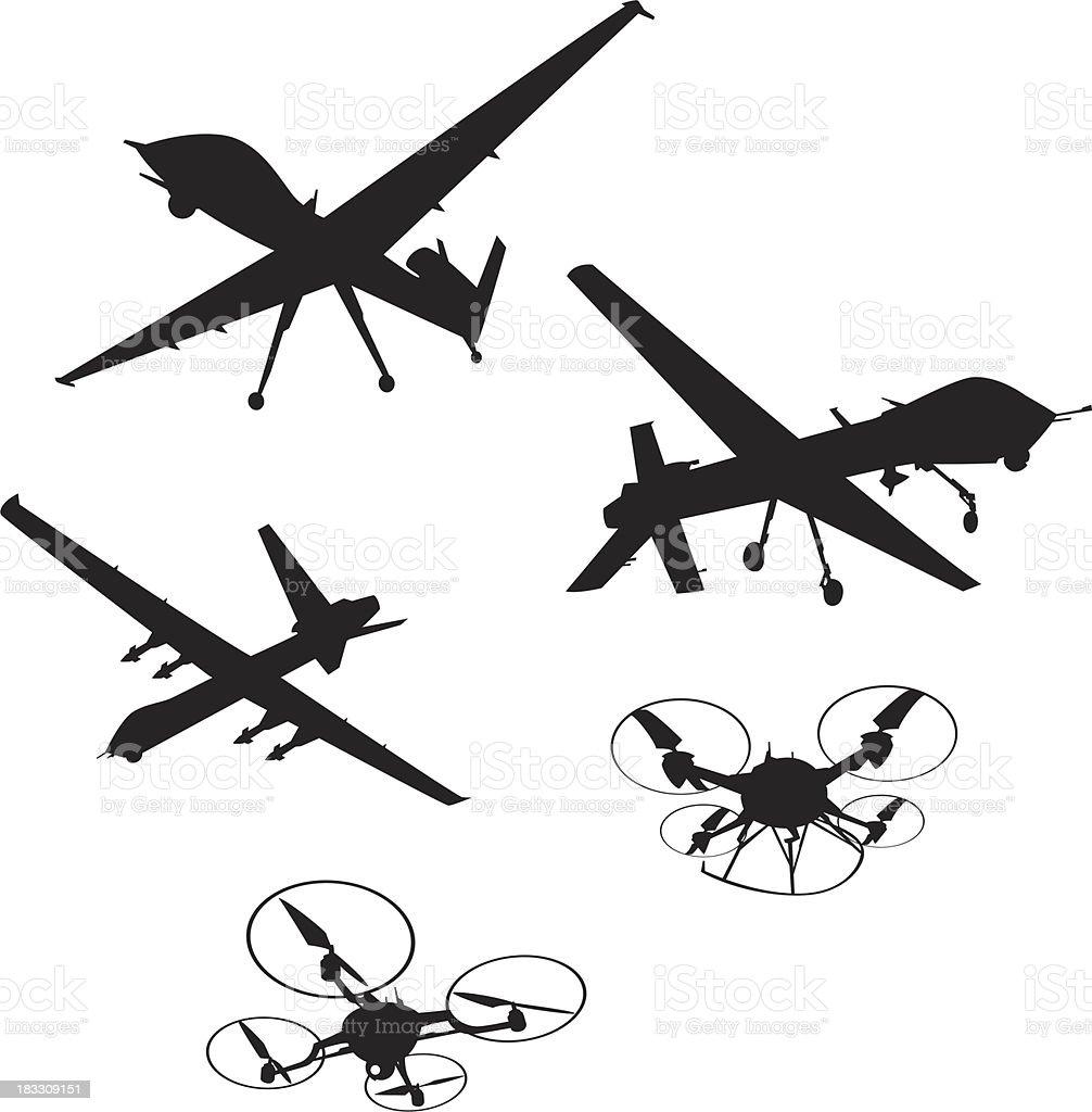 spy drones vector art illustration