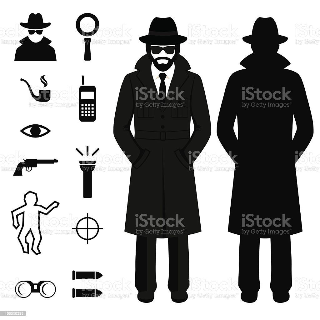 spy icon, detective cartoon man vector art illustration