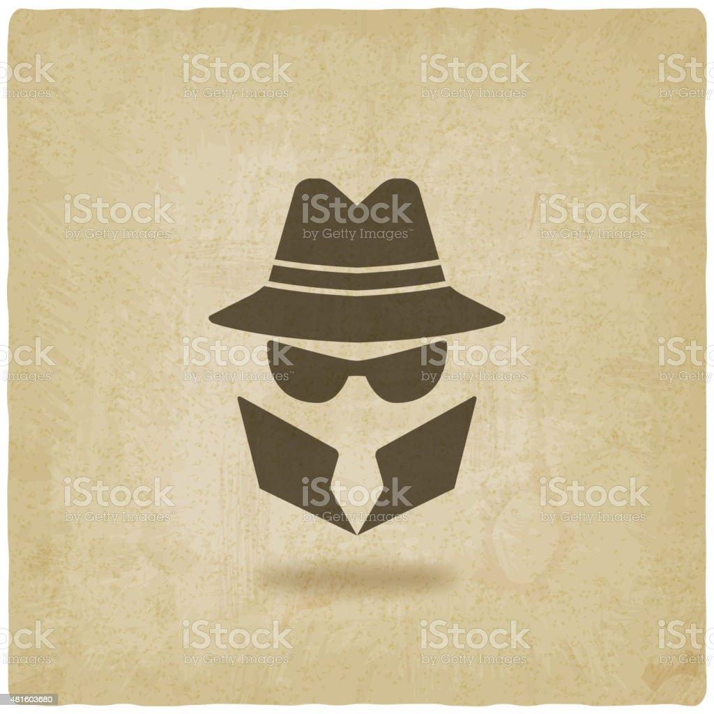 spy icon old background vector art illustration