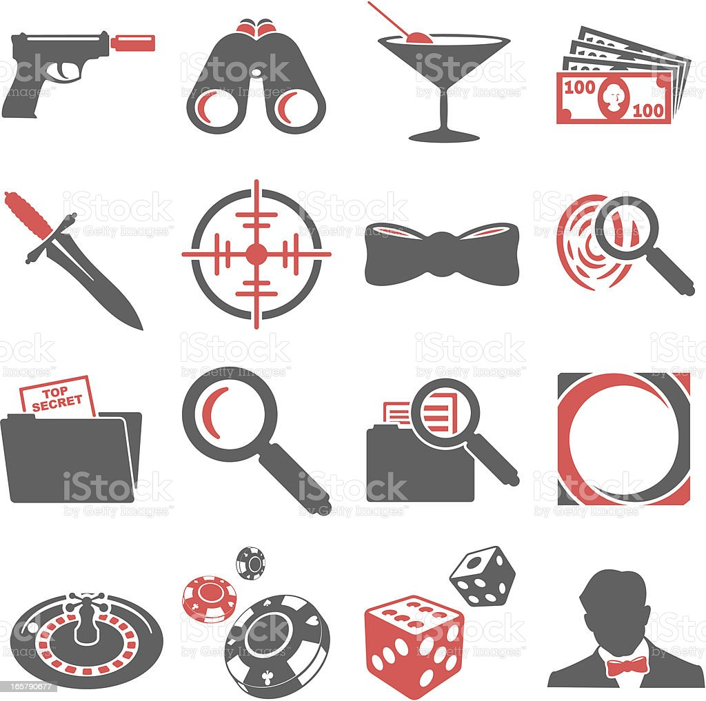 Spy Icons royalty-free stock vector art