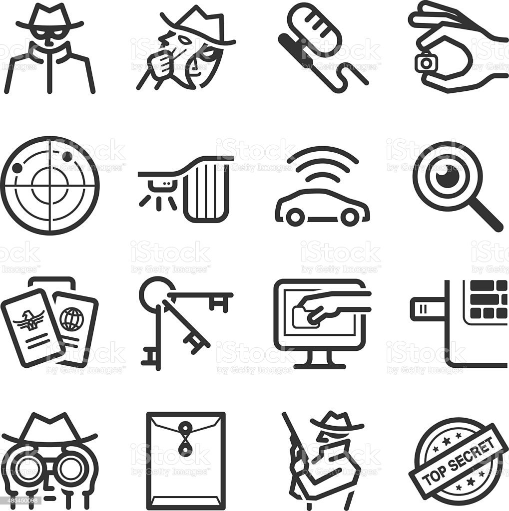 Spy icons vector art illustration