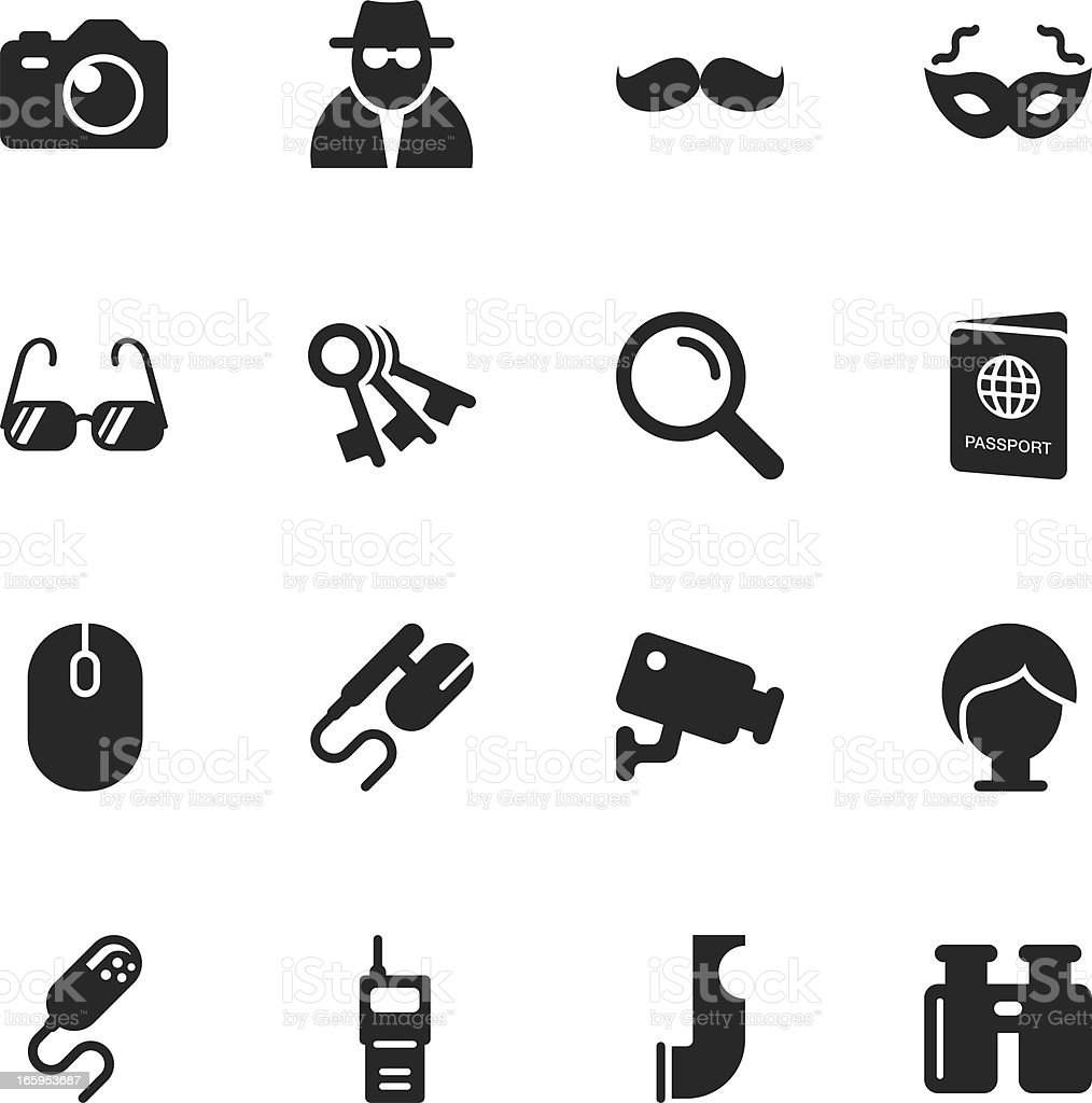 Spy Silhouette Icons vector art illustration