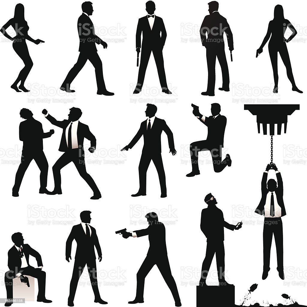 Spy Silhouettes vector art illustration