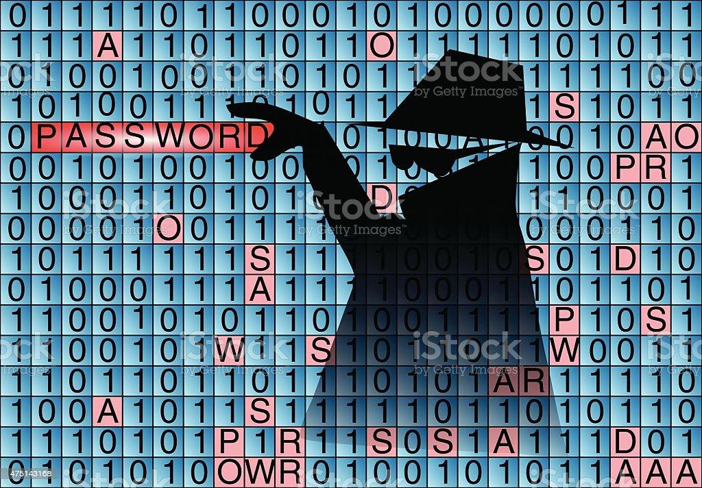 spy steals pasword vector art illustration