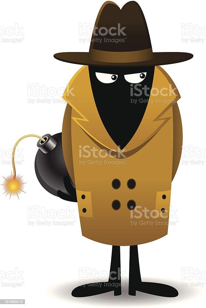 Spy with Bomb royalty-free stock vector art