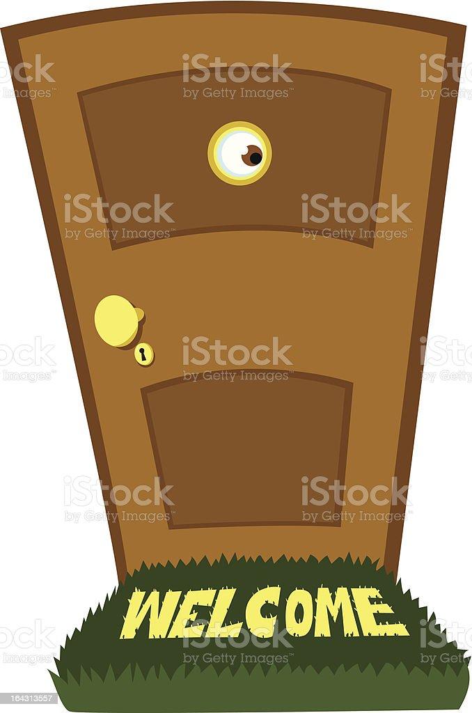 Spying Behind the Door royalty-free stock vector art