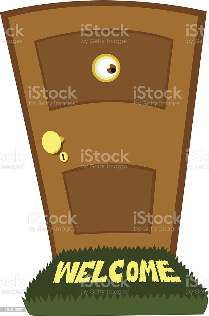 Spying Behind the Door vector art illustration