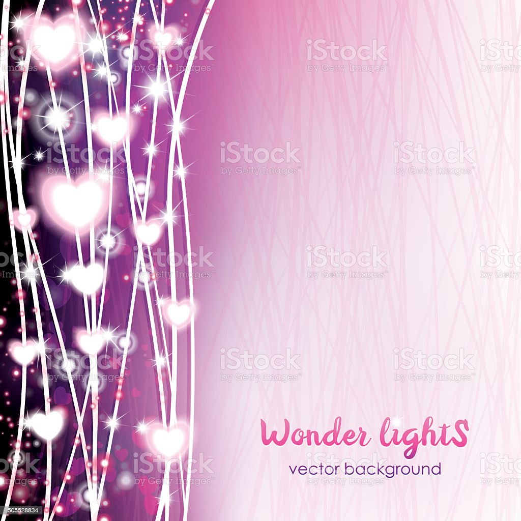 Square background with a rope lights and hears vector art illustration