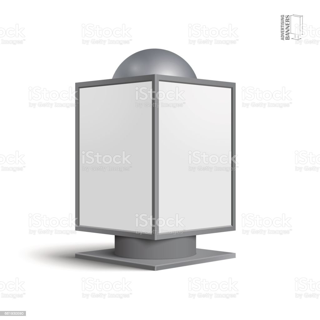 Square billboard lightbox, on a white background vector art illustration