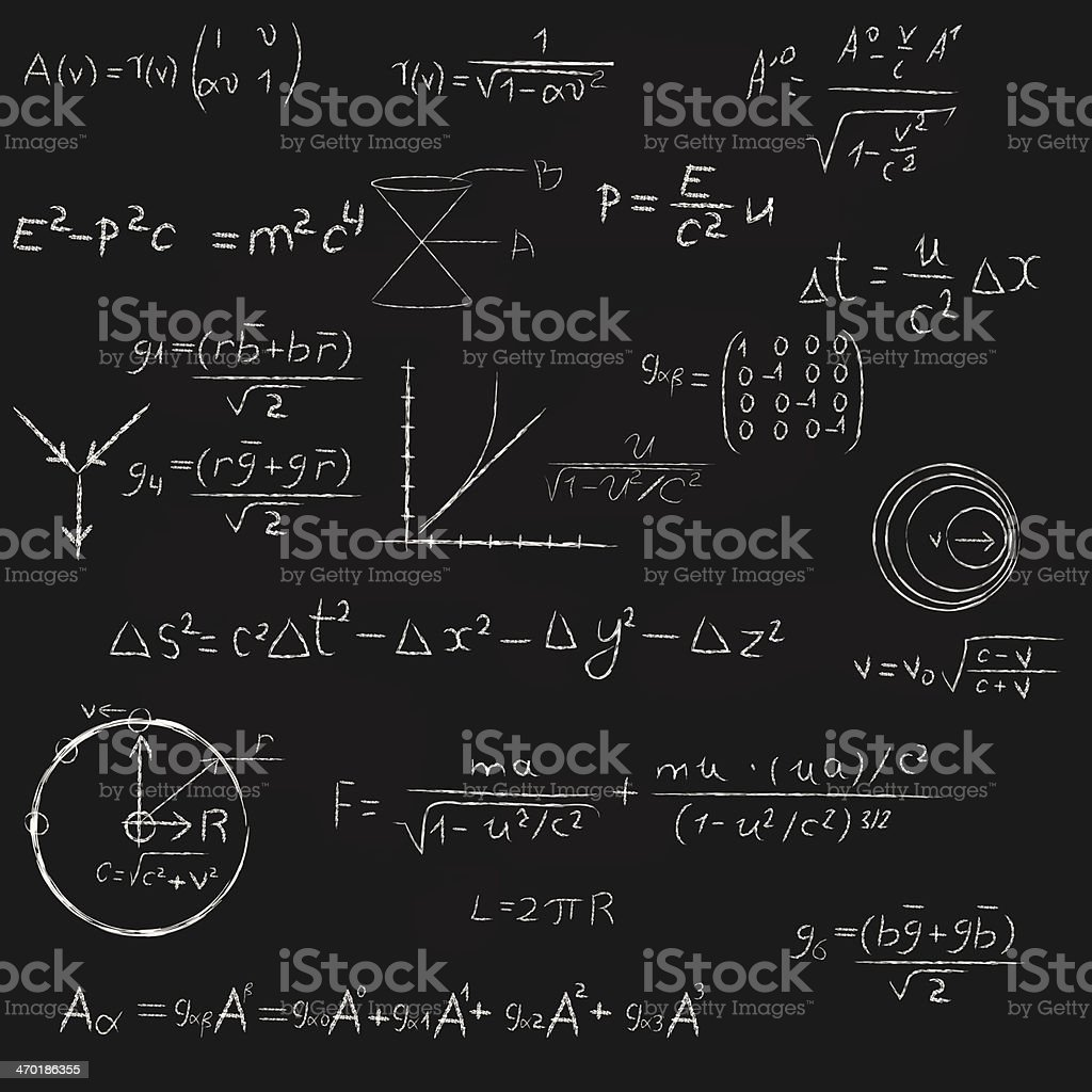 Square Blackboard With Equations. vector art illustration