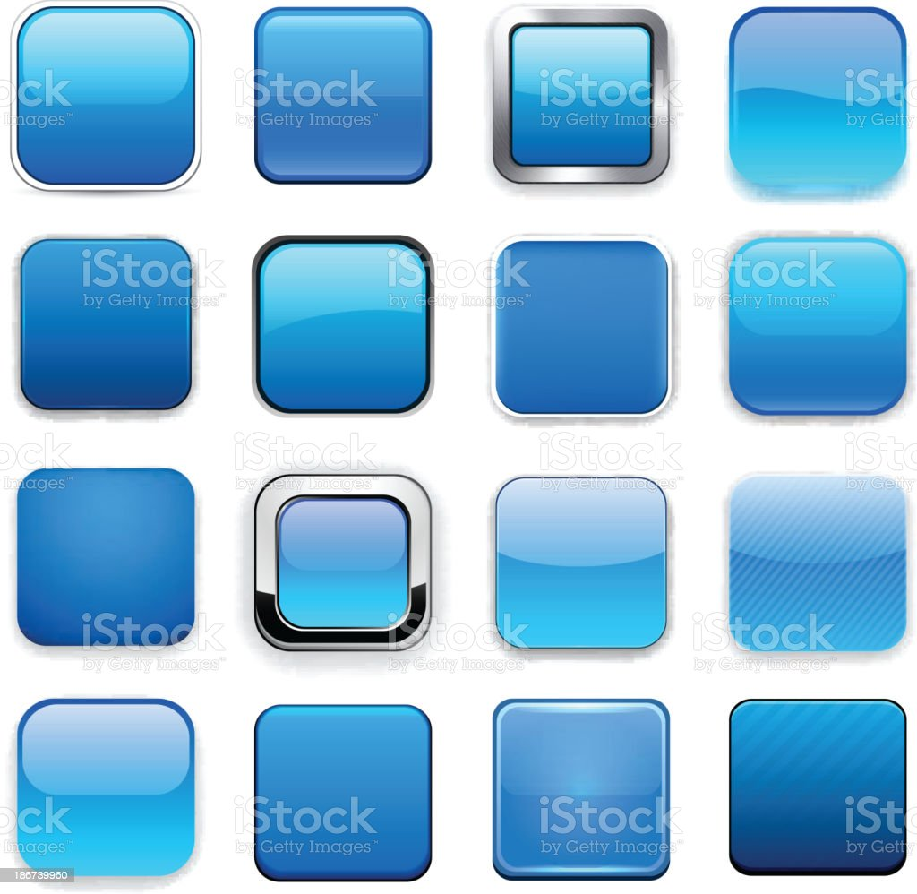 Square blue app icons. royalty-free stock vector art