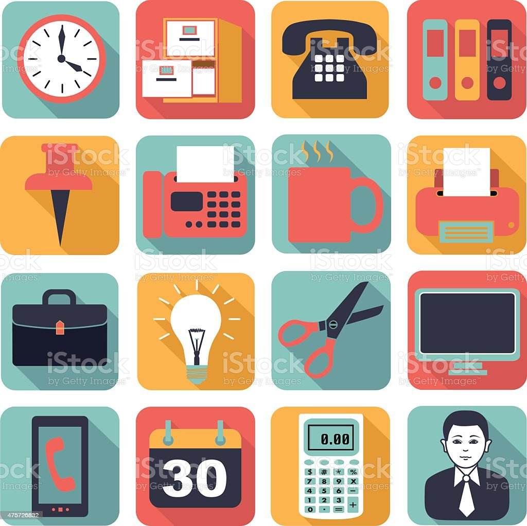 square business icons in the flat style vector art illustration