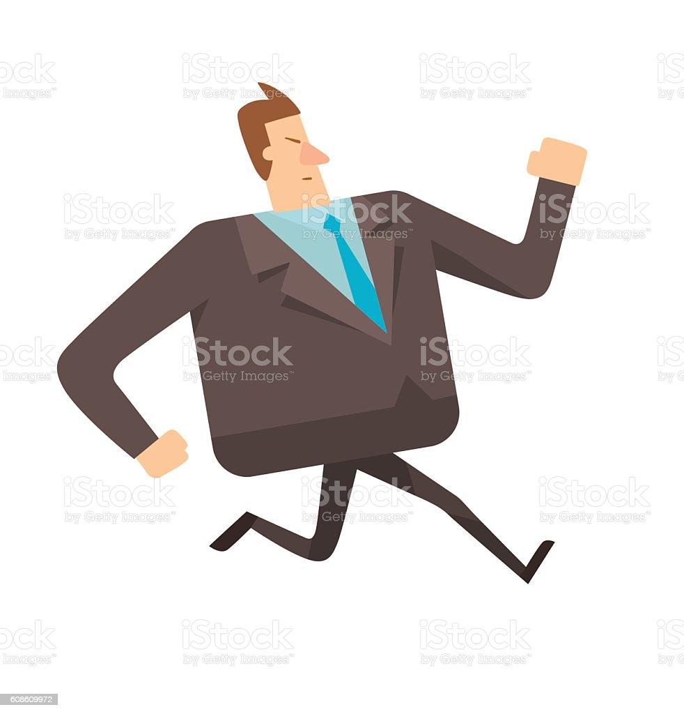Square businessman running somewhere vector art illustration