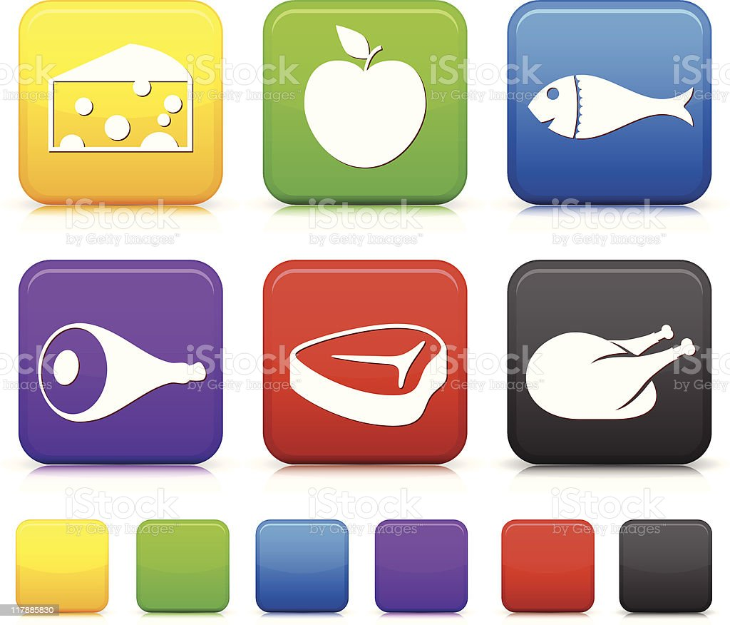 square button food icons vector art illustration
