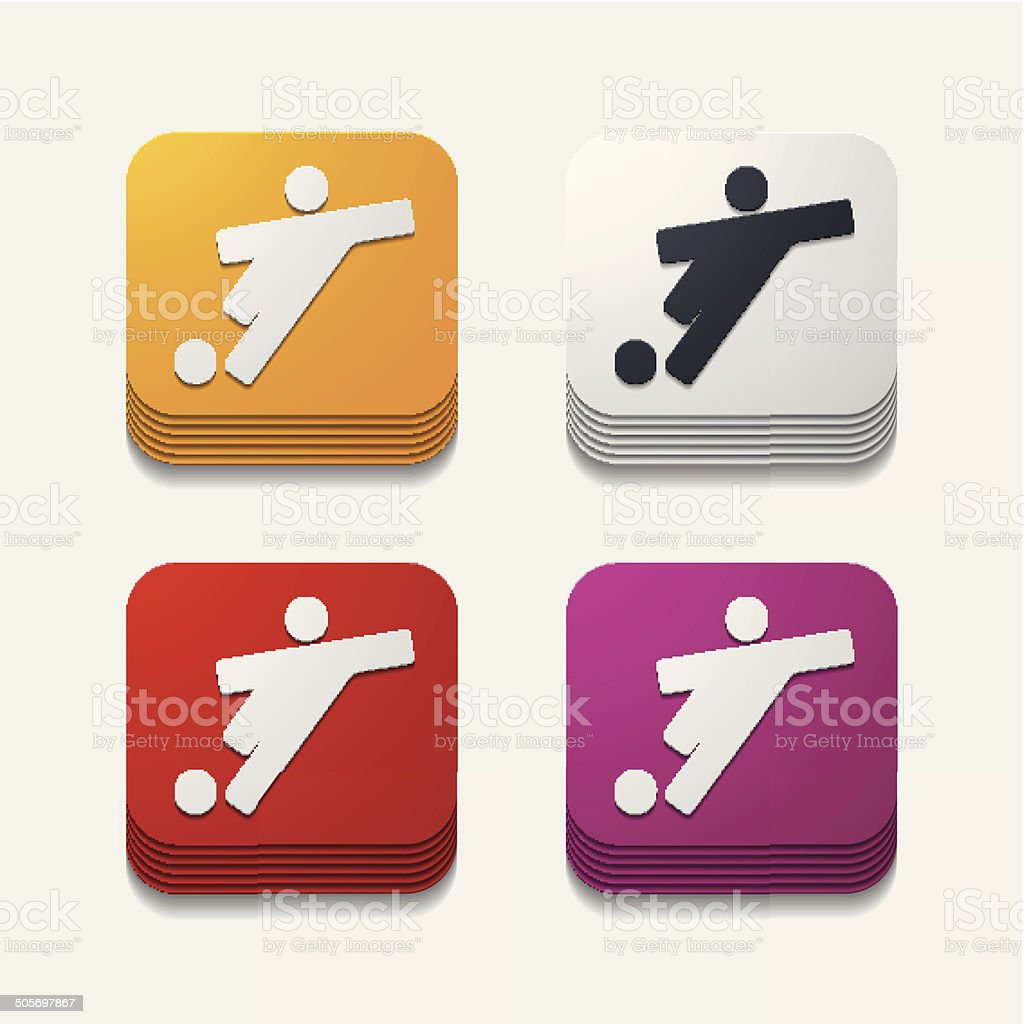 square button: football player royalty-free stock vector art