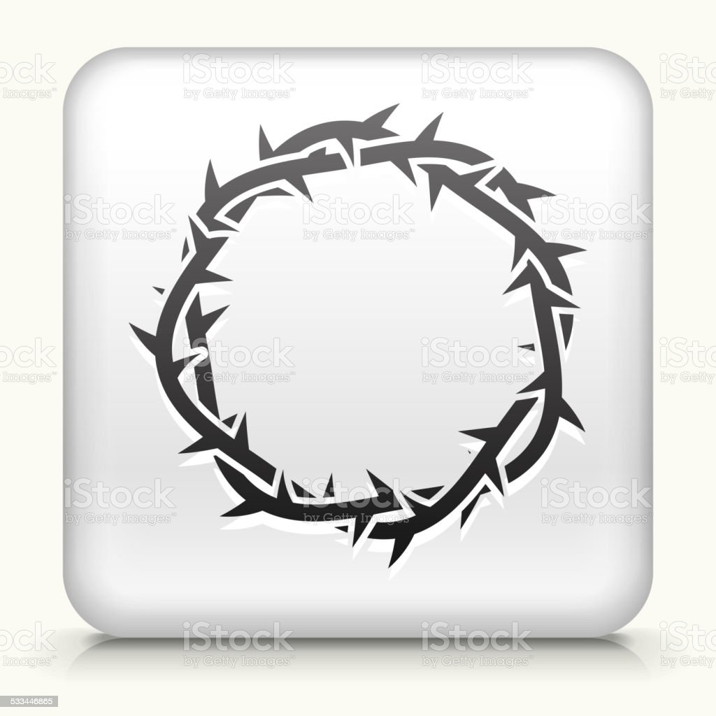 Square button: Jesus Christ Thorn Crown royalty free vector art vector art illustration