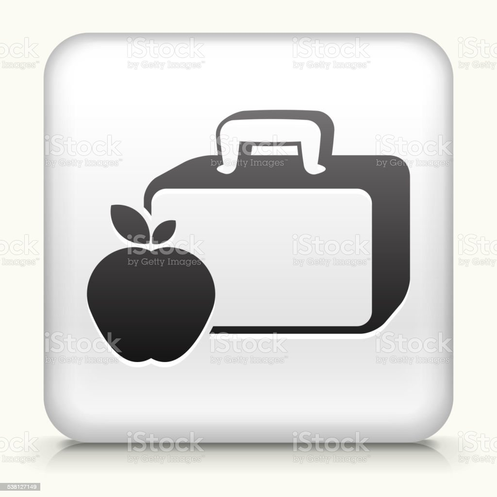 Square button: Lunch Box & Apple royalty free vector art vector art illustration