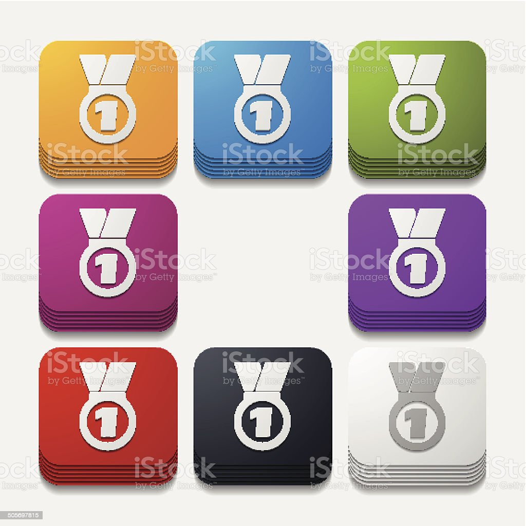 square button: medal royalty-free stock vector art