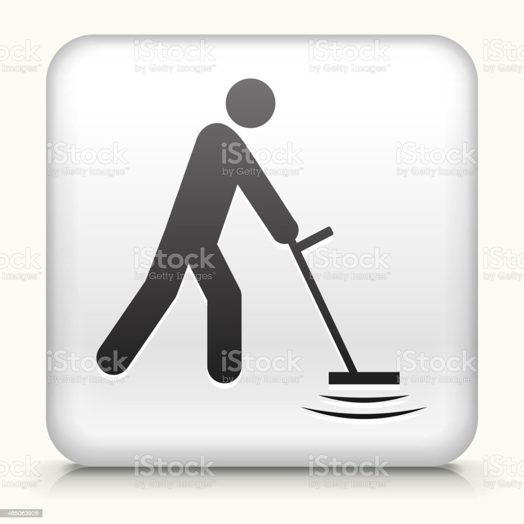 Square button: Person and Metal Detector royalty free vector art vector art illustration