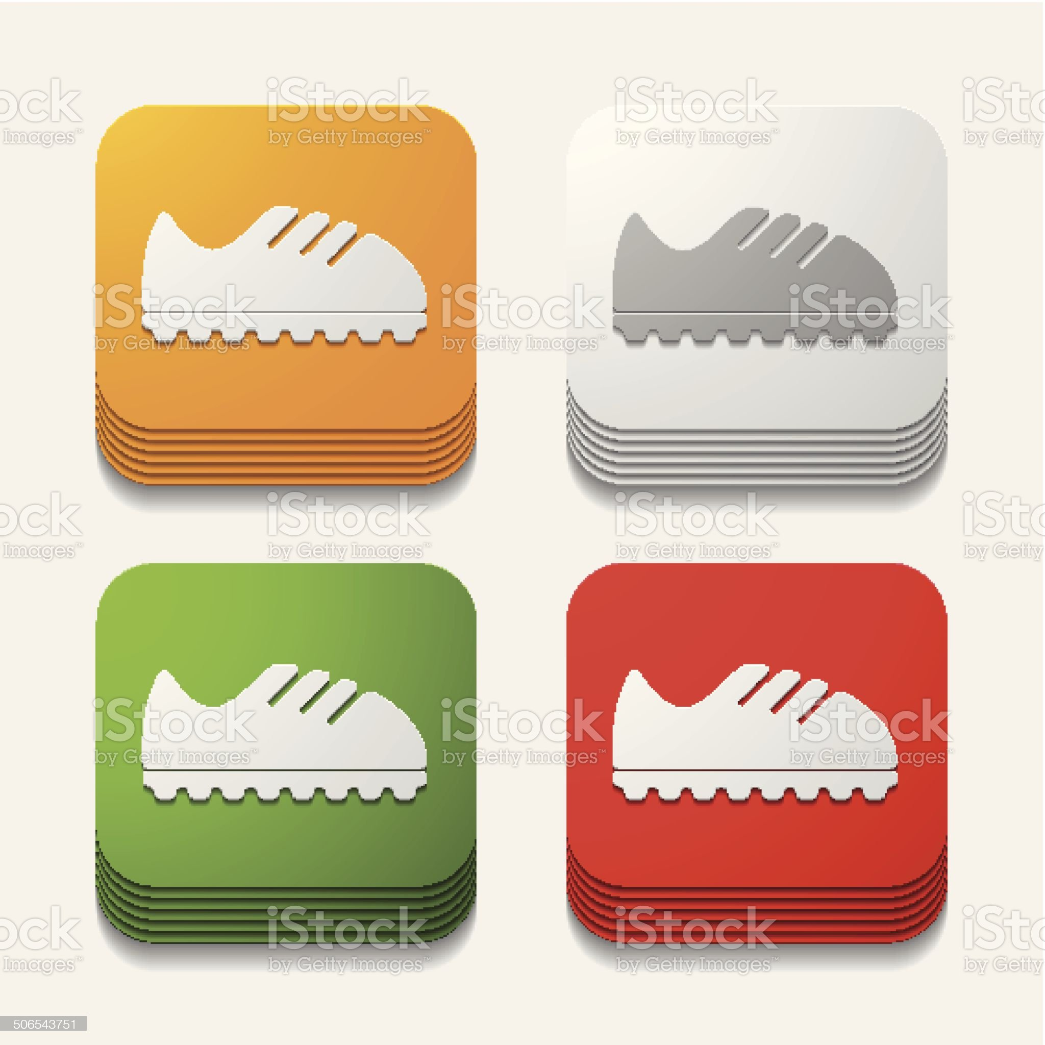 square button: sneakers royalty-free stock vector art