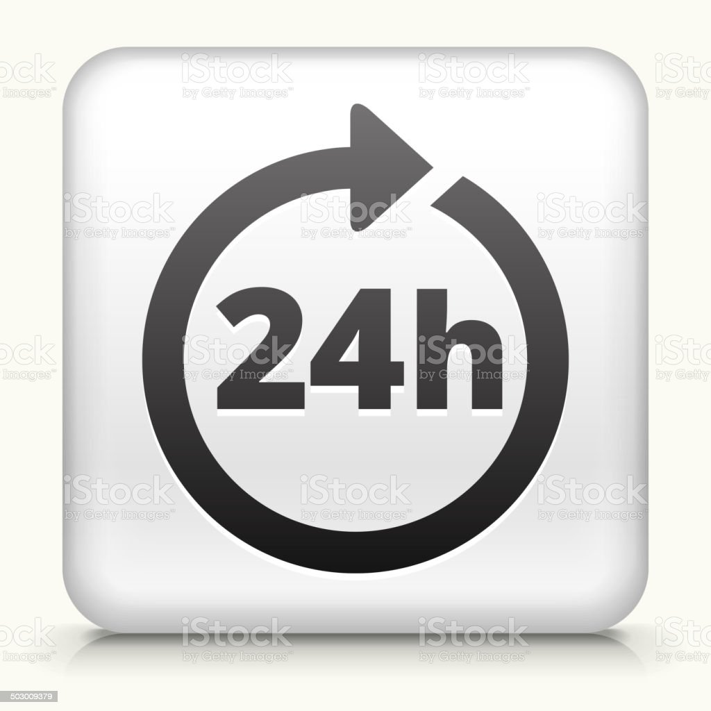 Square Button with 24 Hour Service royalty free vector art vector art illustration