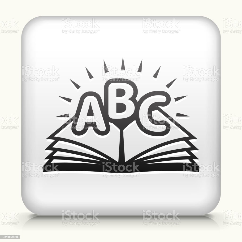 Square Button with ABC Book royalty free vector art vector art illustration