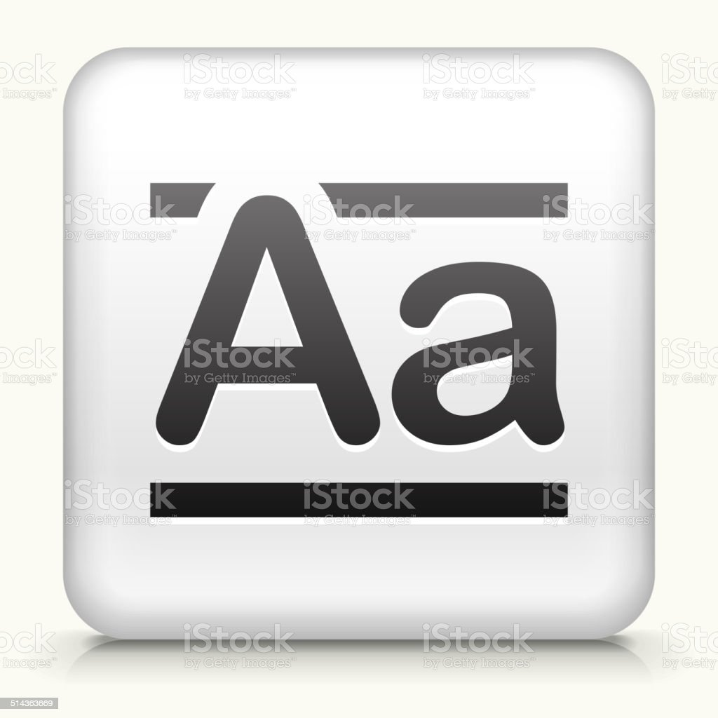 Square Button with Alphabet A vector art illustration