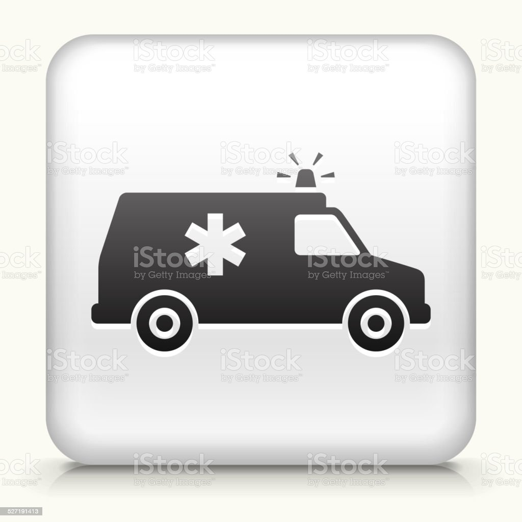 Square Button with Ambulance vector art illustration
