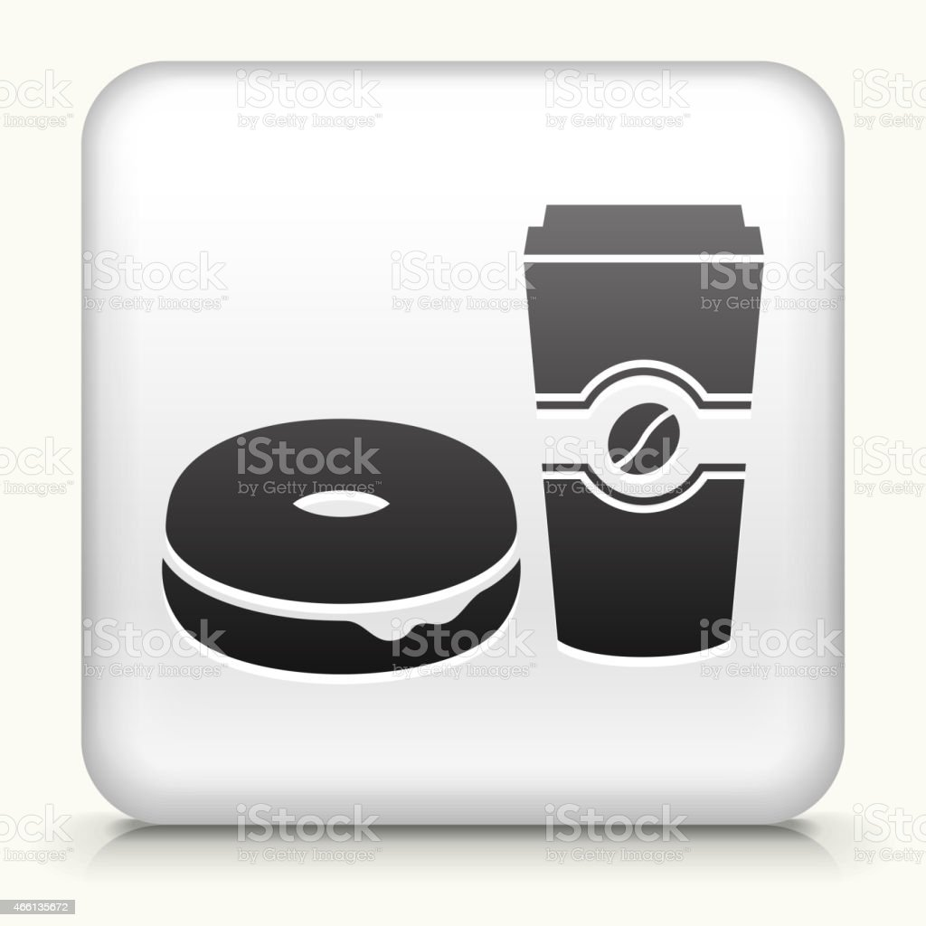Square Button with Bagel & Coffee interface icon vector art illustration