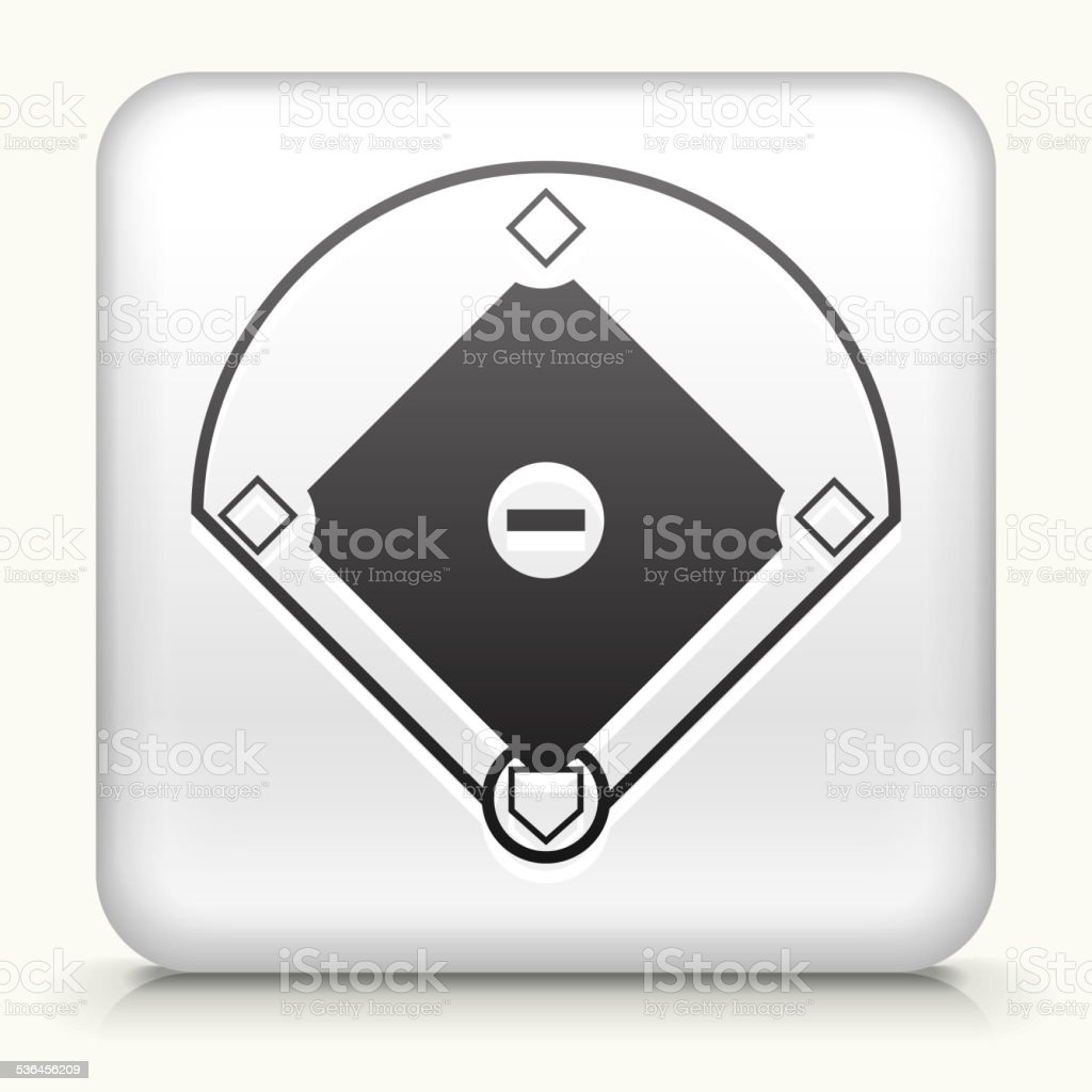 Square Button with Baseball Field vector art illustration