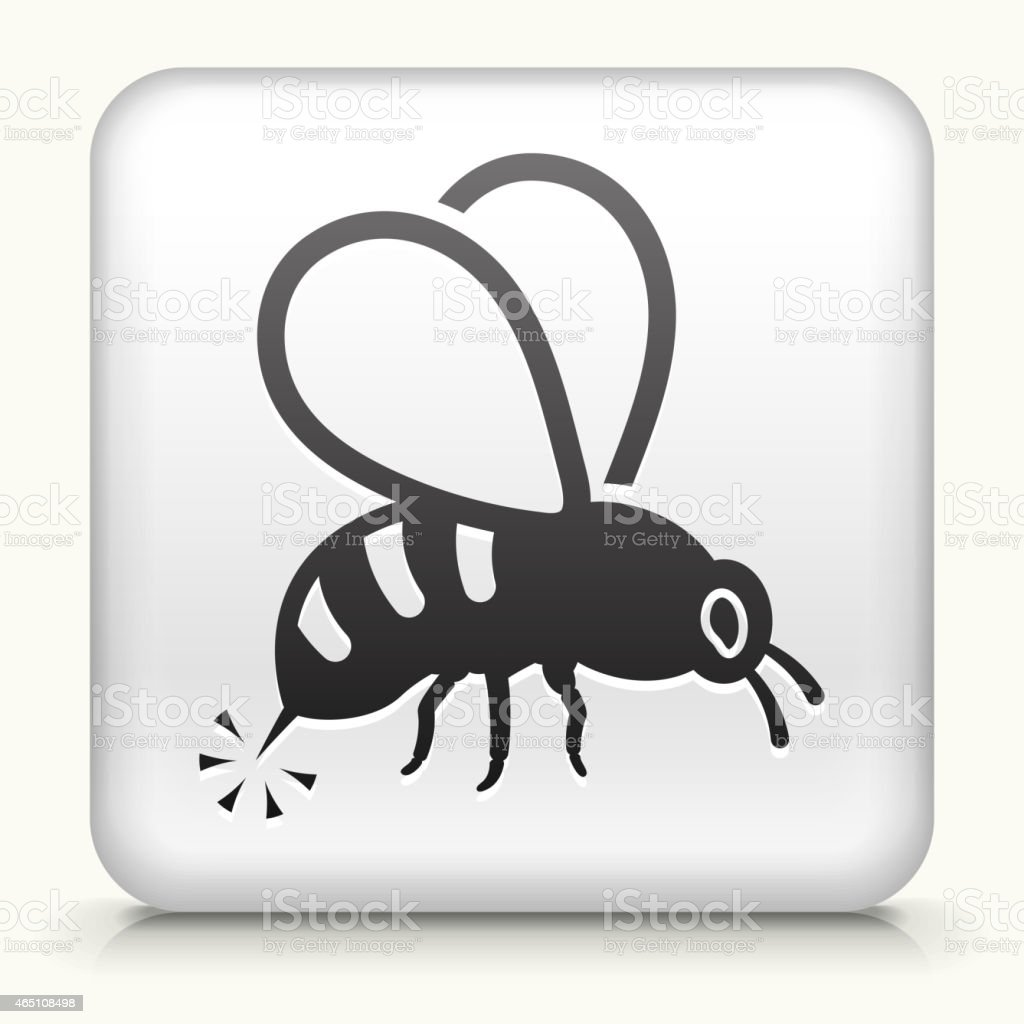 Square Button with Bee Sting royalty free vector art vector art illustration
