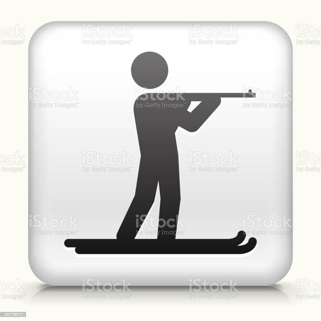 Square Button with Biathlon royalty free vector art vector art illustration