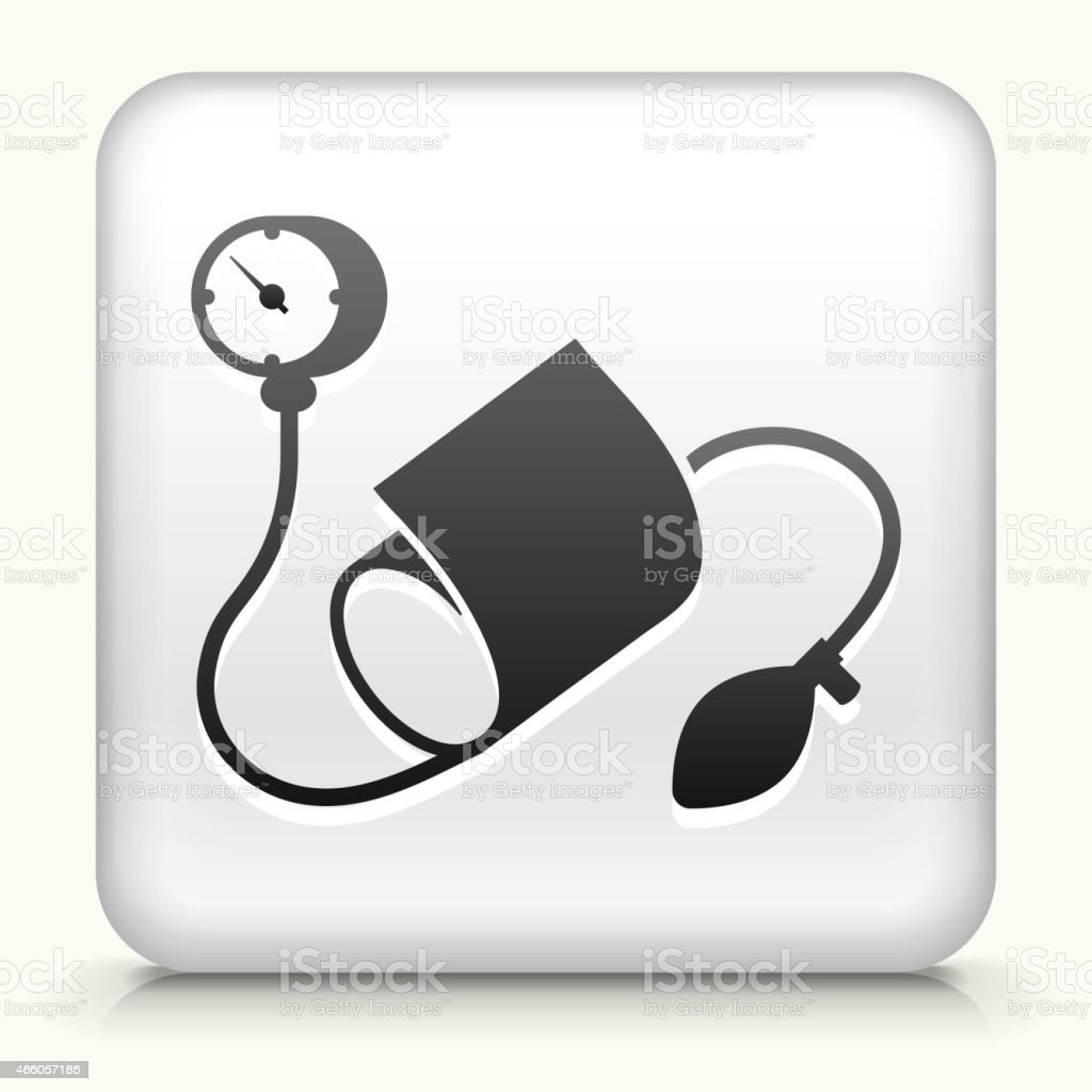 White Square Button with Blood Pressure Monitor vector art illustration