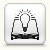 Square Button with Book Idea royalty free vector art