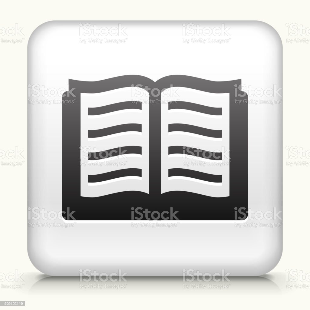 Square Button with Book royalty free vector art vector art illustration