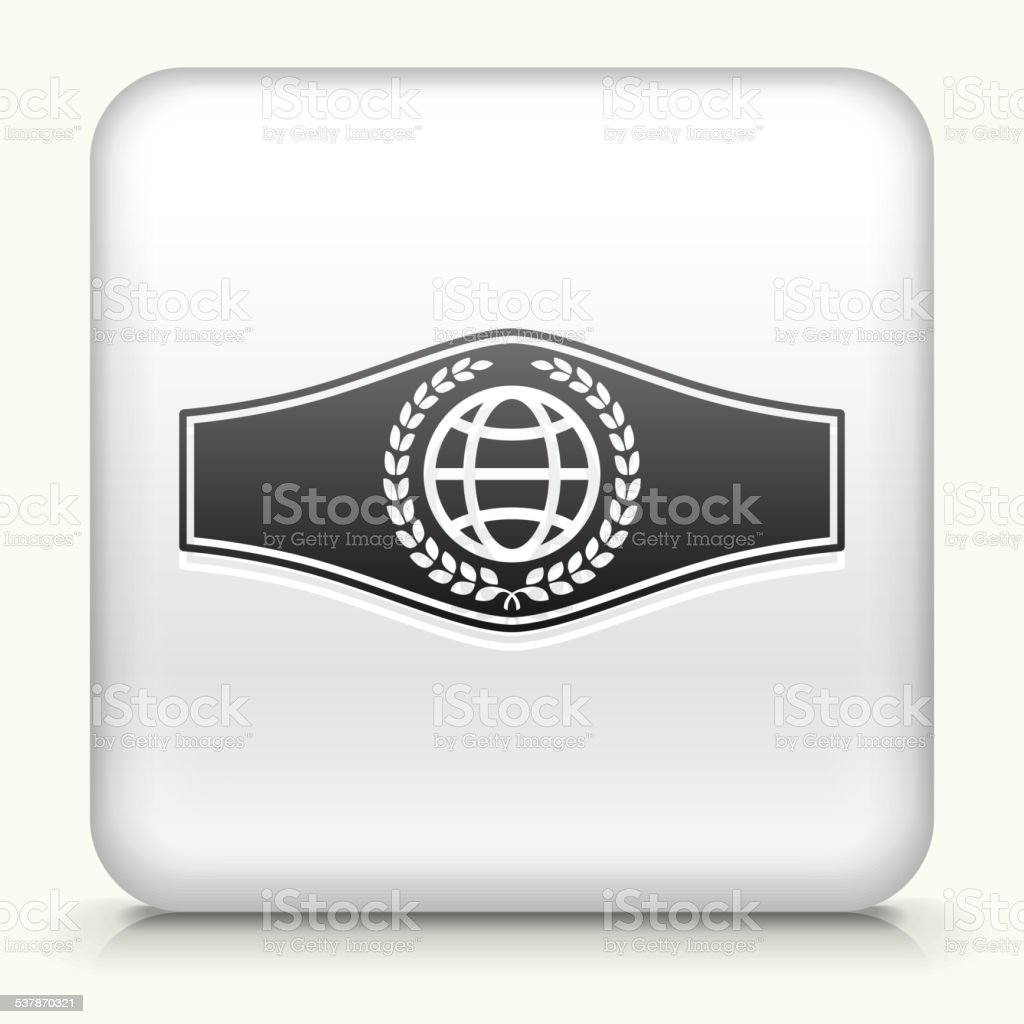 Square Button with Boxing Belt royalty free vector art vector art illustration