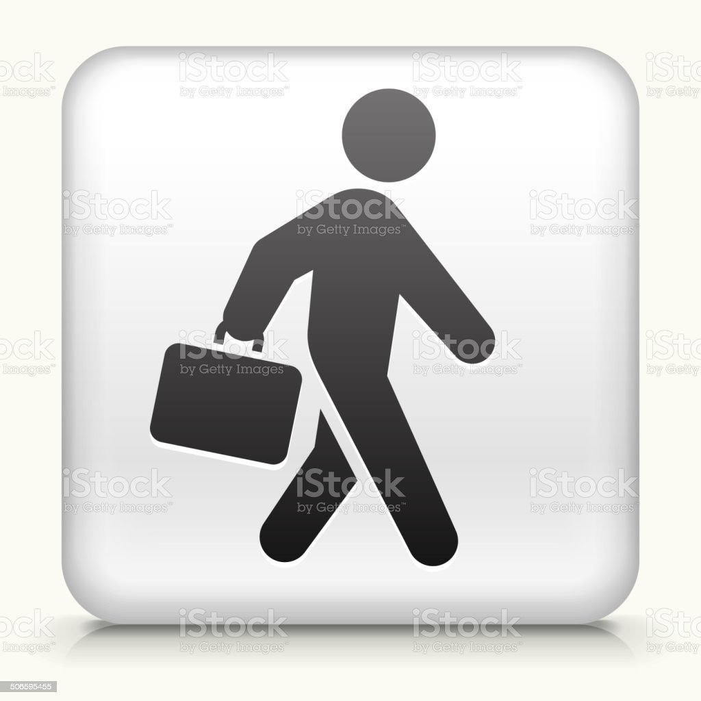 Square Button with Briefcase Stick Figure royalty free vector art vector art illustration
