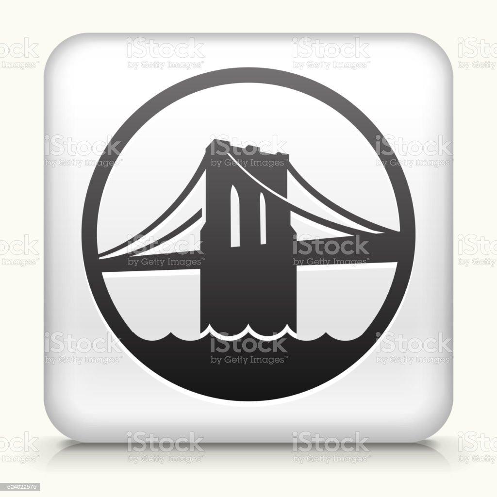 Square Button with Brooklyn Bridge vector art illustration