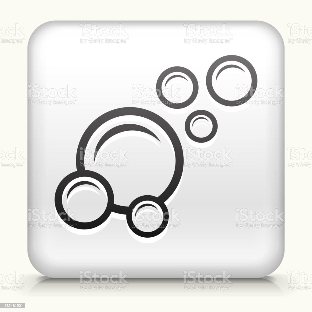 Square Button with Bubbles royalty free vector art vector art illustration