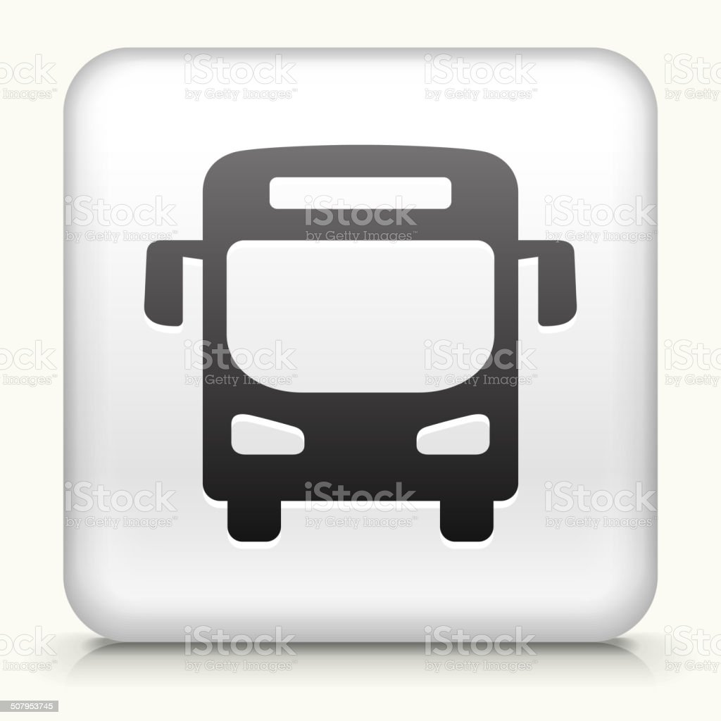 Square Button with Bus royalty free vector art vector art illustration