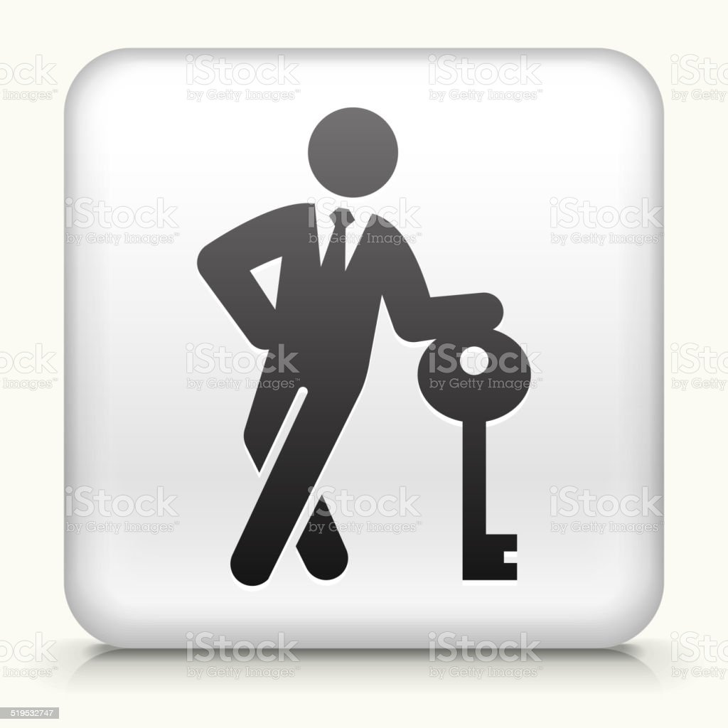 Square Button with Businessman & Key royalty free vector art vector art illustration