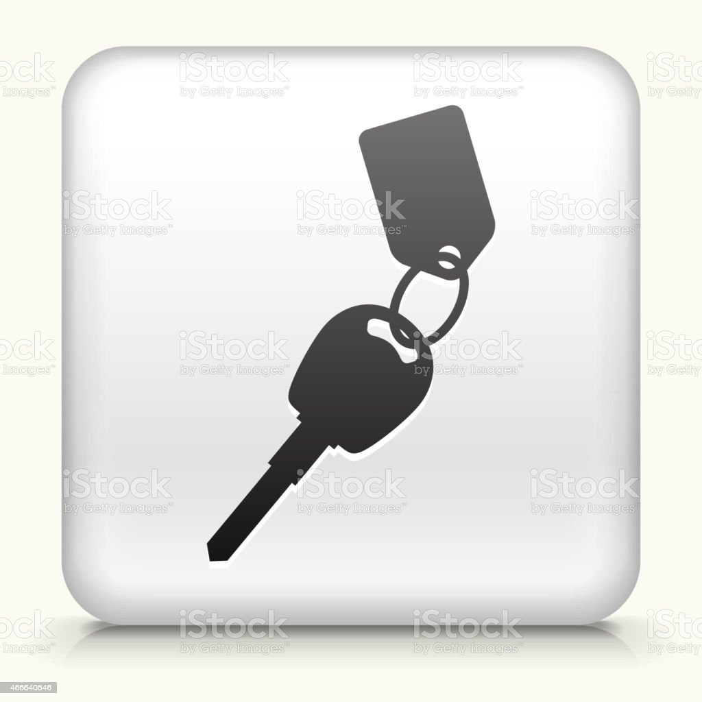 Square Button with Car Keys vector art illustration