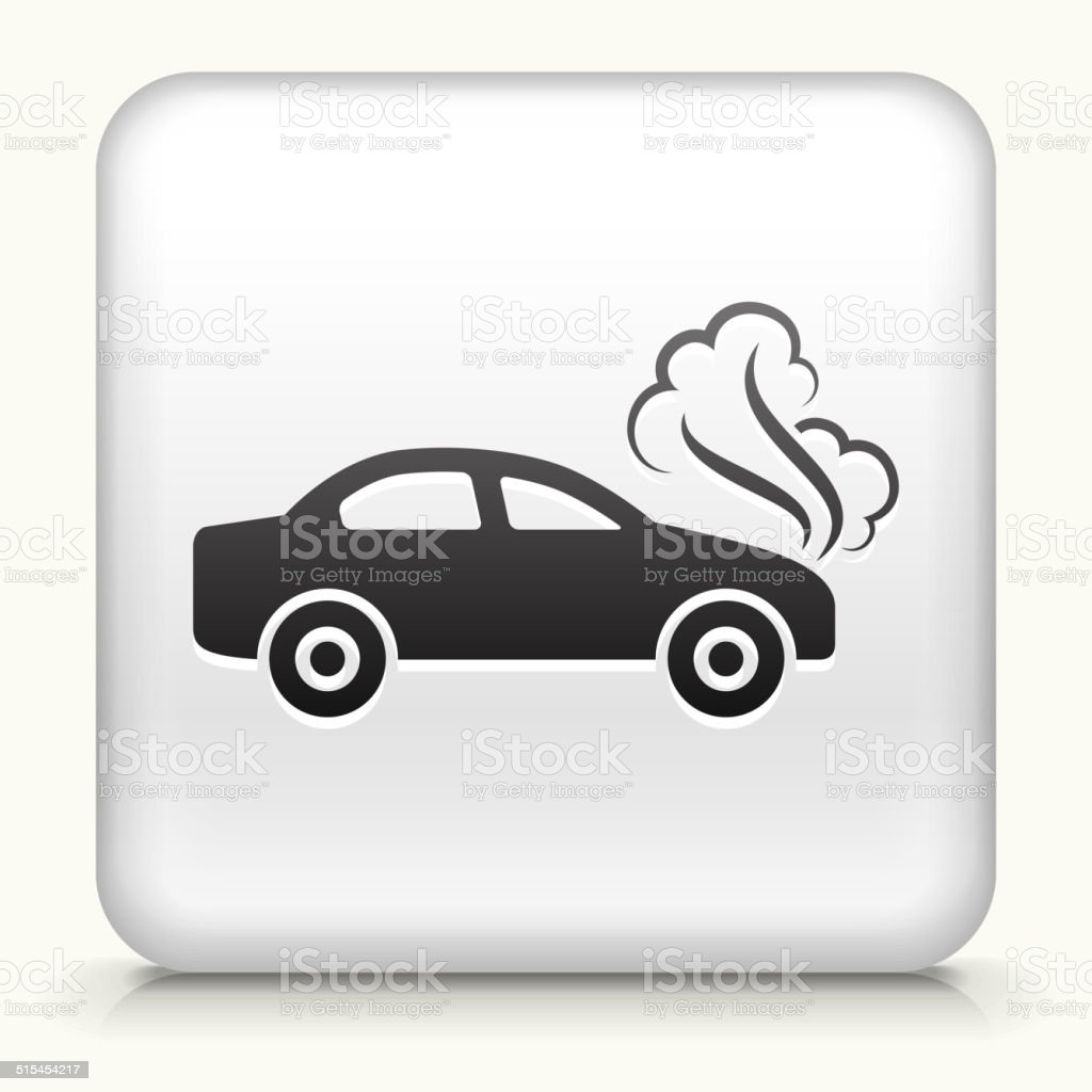 White Square Button with Car Problem vector art illustration