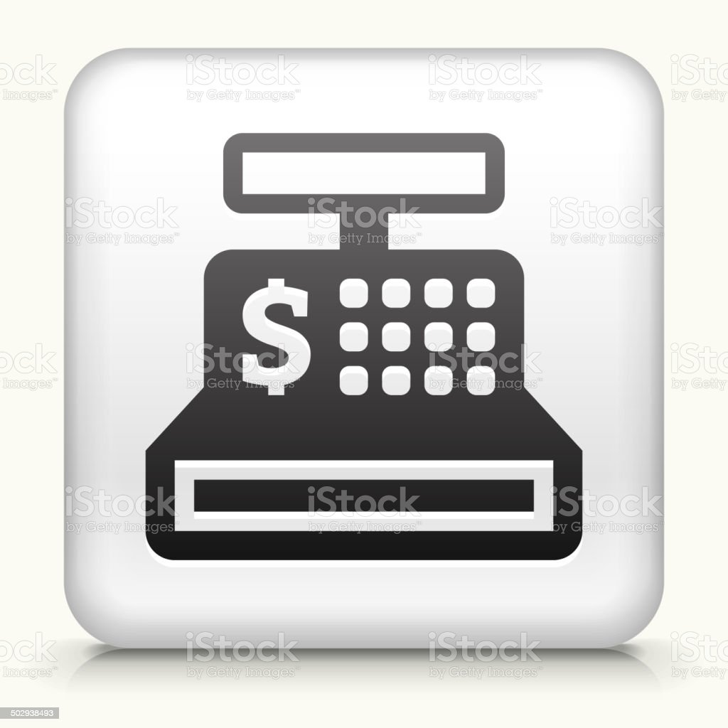 Square Button with Cash Register royalty free vector art vector art illustration
