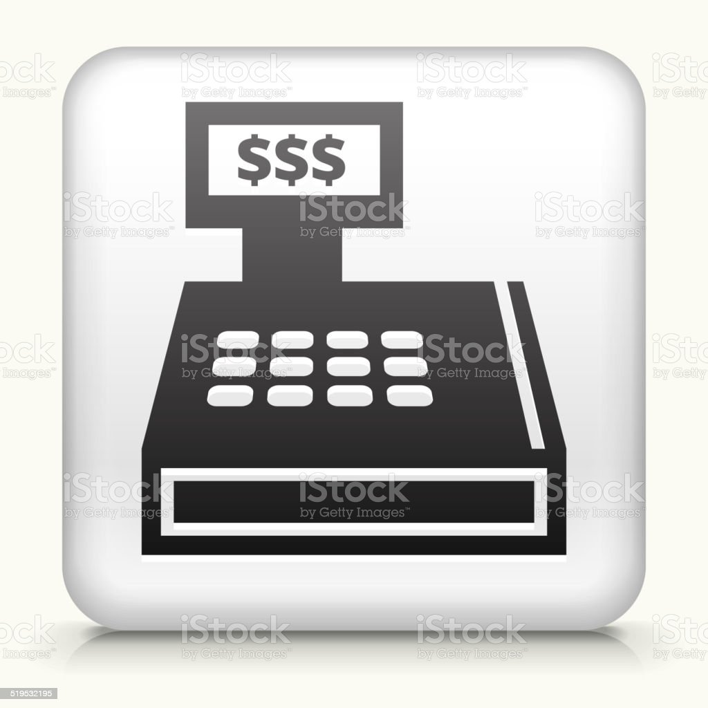 Square Button with Cash Register vector art illustration